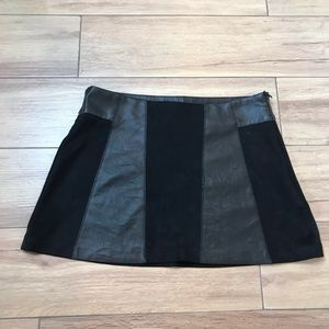 Zara Faux Leather and Suede Mini Skirt